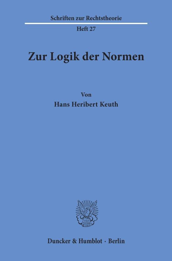 Cover Zur Logik der Normen