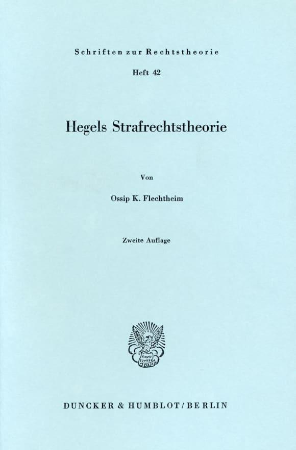 Cover Hegels Strafrechtstheorie