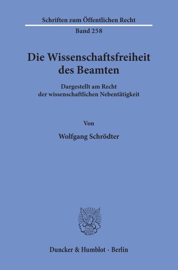 Cover Die Wissenschaftsfreiheit des Beamten