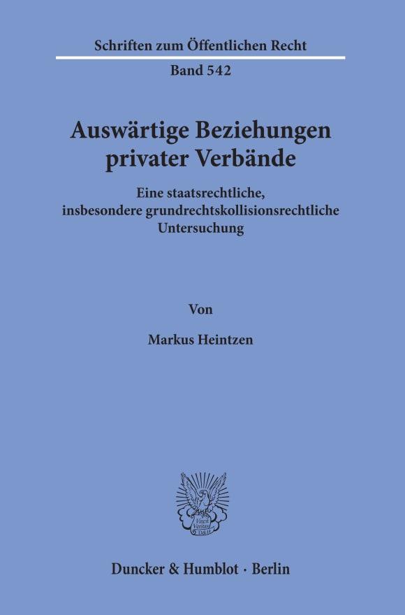 Cover Auswärtige Beziehungen privater Verbände