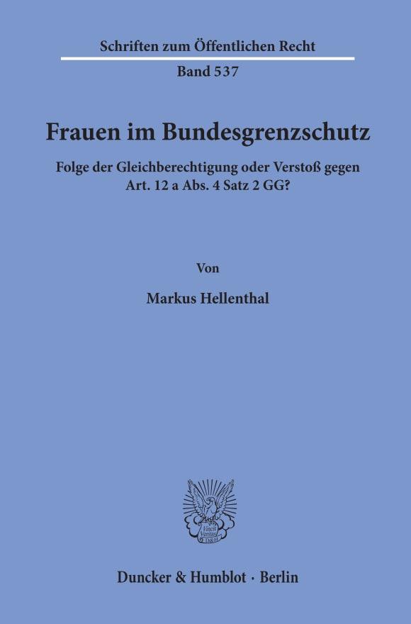 Cover Frauen im Bundesgrenzschutz