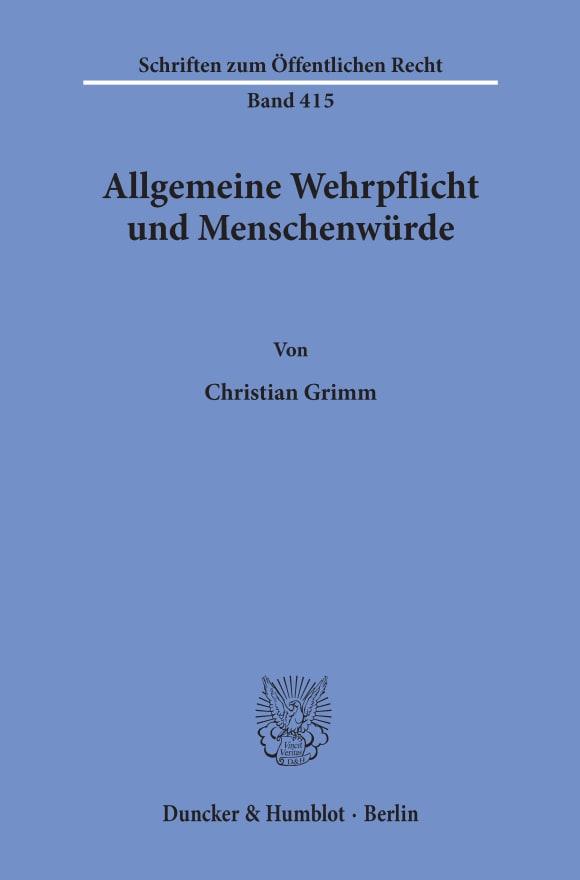 Cover Allgemeine Wehrpflicht und Menschenwürde
