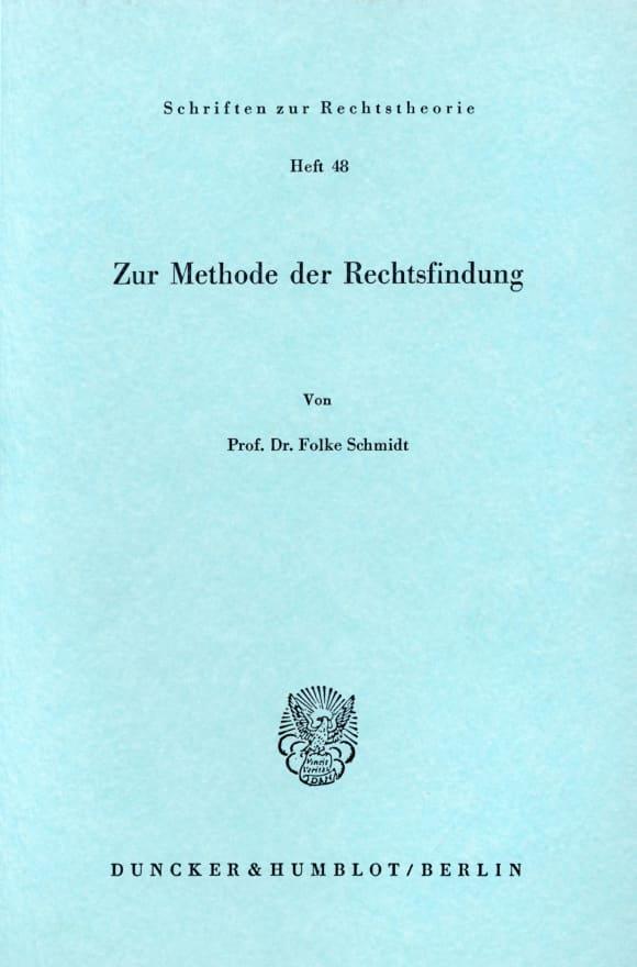 Cover Zur Methode der Rechtsfindung