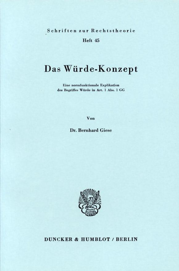 Cover Das Würde-Konzept