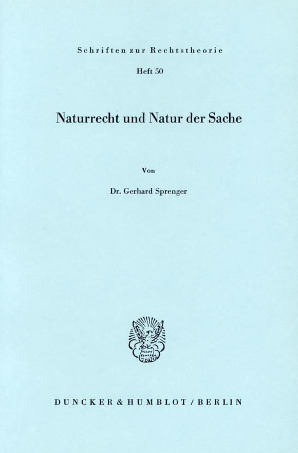 Cover Naturrecht und Natur der Sache