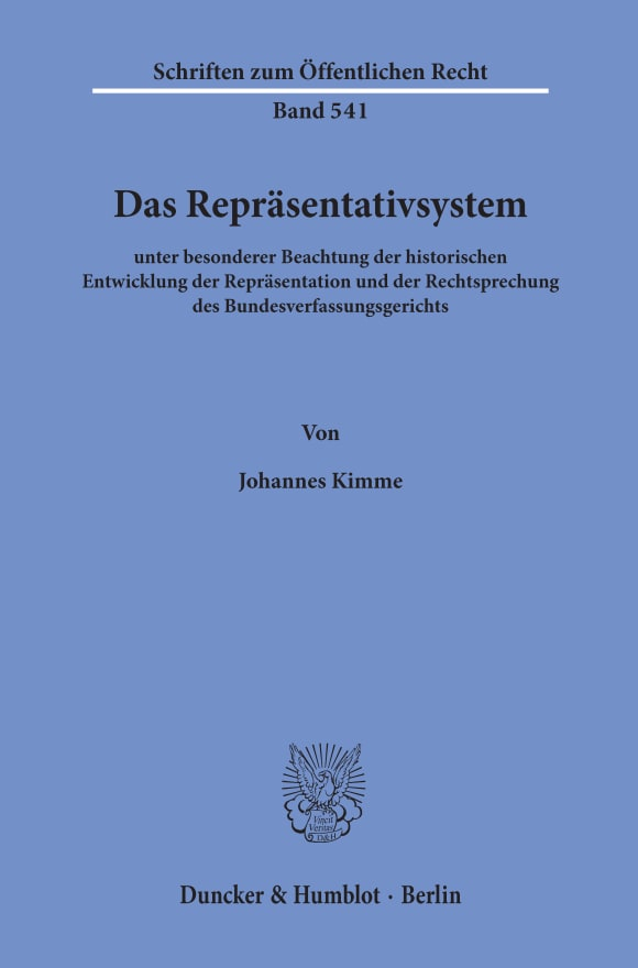 Cover Das Repräsentativsystem