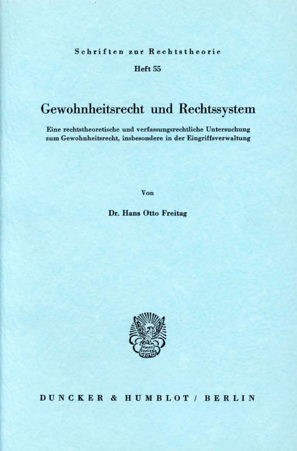 Cover Gewohnheitsrecht und Rechtssystem