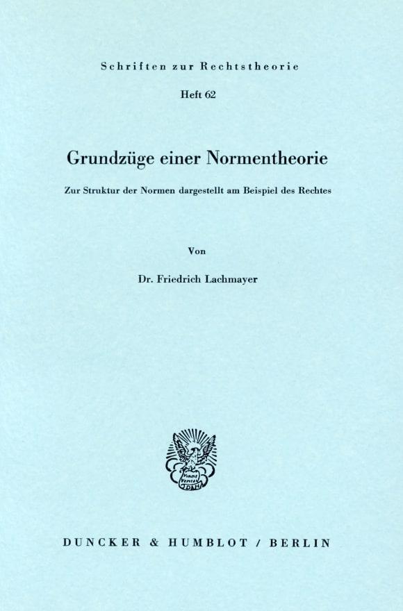 Cover Grundzüge einer Normentheorie