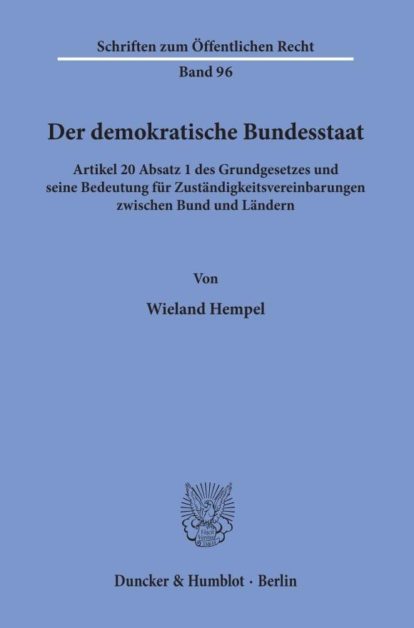 Cover Der demokratische Bundesstaat