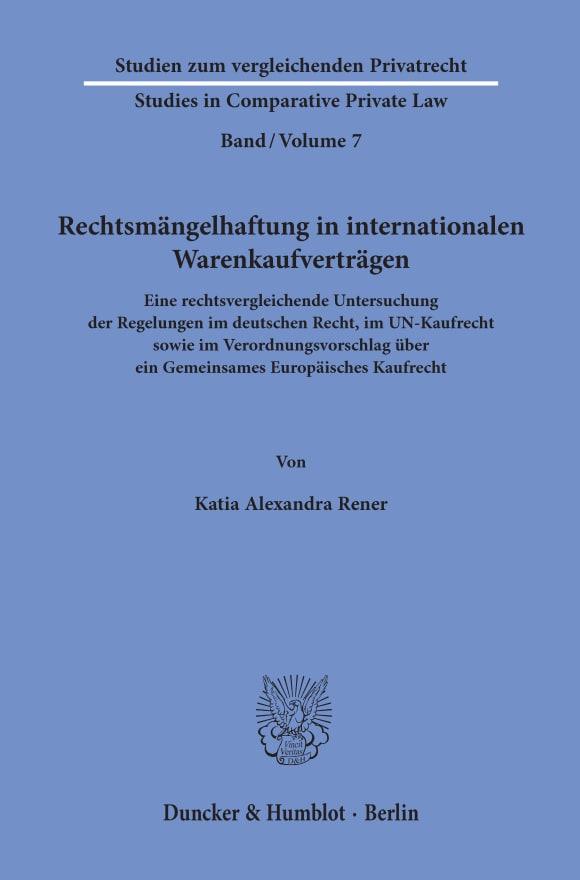 Cover Rechtsmängelhaftung in internationalen Warenkaufverträgen