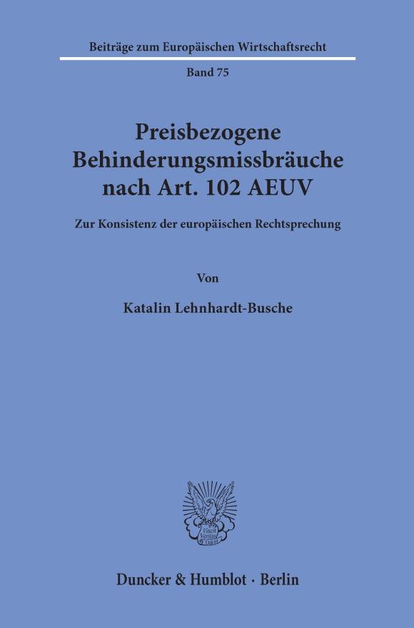 Cover Preisbezogene Behinderungsmissbräuche nach Art. 102 AEUV