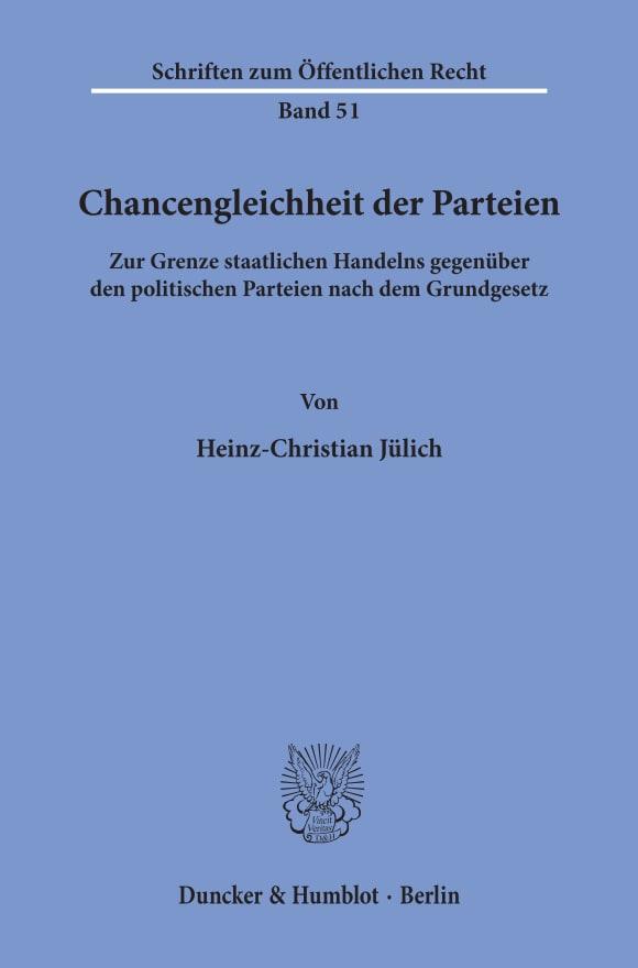 Cover Chancengleichheit der Parteien