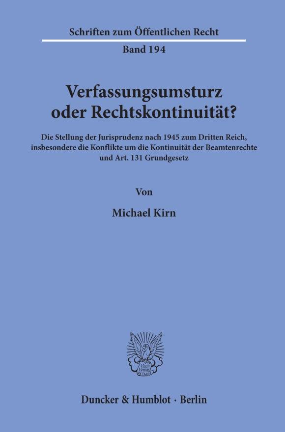 Cover Verfassungsumsturz oder Rechtskontinuität?