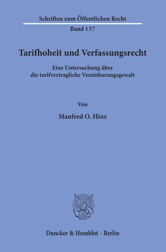 Cover Tarifhoheit und Verfassungsrecht