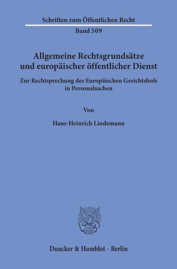 Cover Allgemeine Rechtsgrundsätze und europäischer öffentlicher Dienst