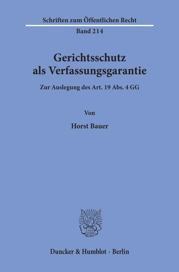 Cover Gerichtsschutz als Verfassungsgarantie