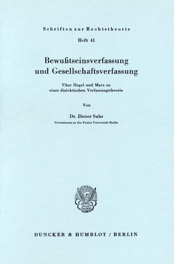 Cover Bewußtseinsverfassung und Gesellschaftsverfassung