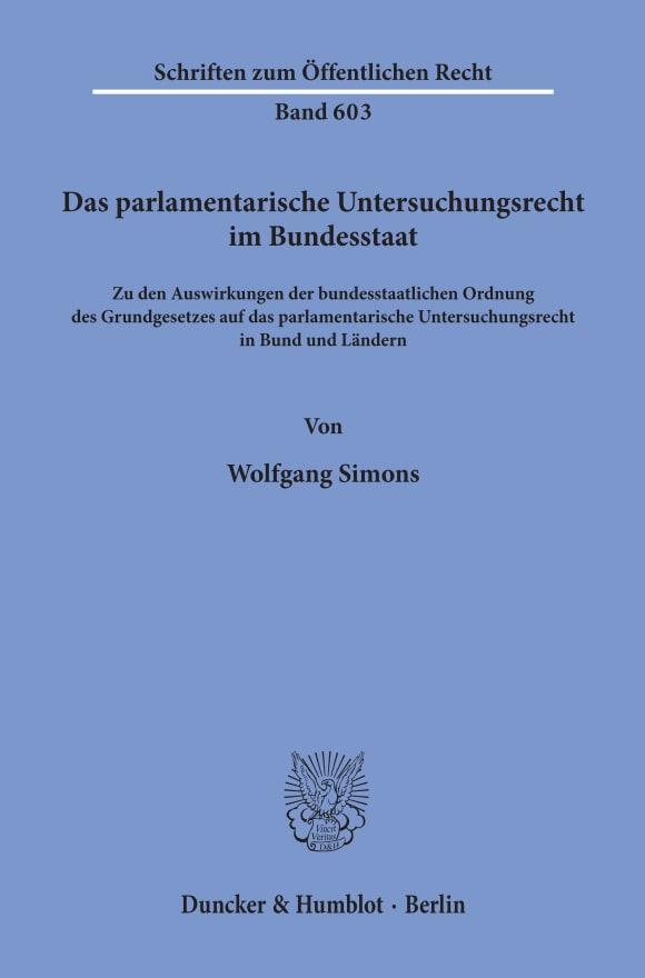 Cover Das parlamentarische Untersuchungsrecht im Bundesstaat