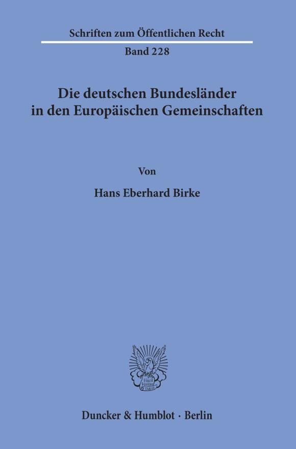 Cover Die deutschen Bundesländer in den Europäischen Gemeinschaften