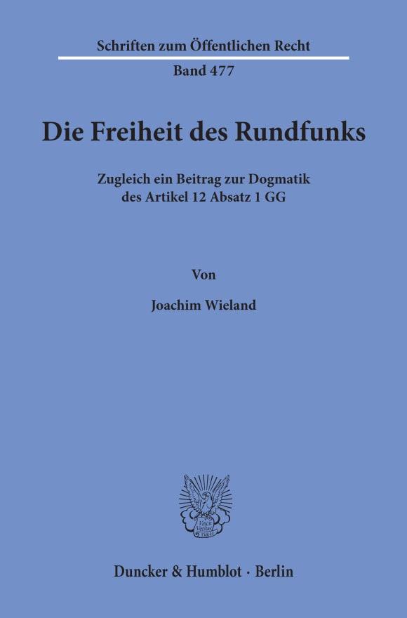 Cover Die Freiheit des Rundfunks