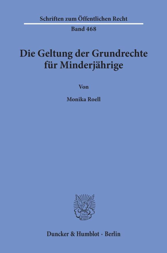 Cover Die Geltung der Grundrechte für Minderjährige