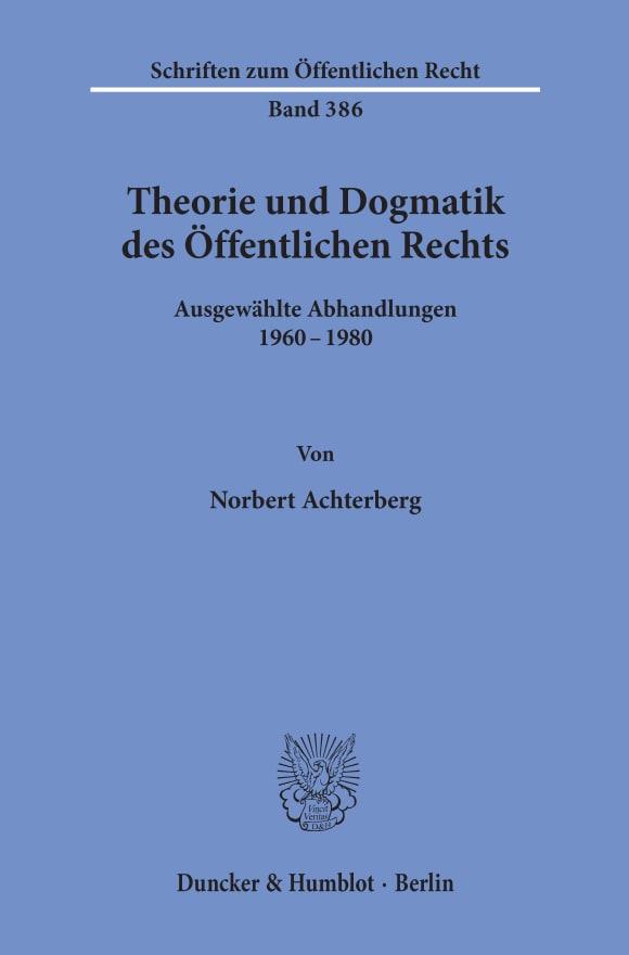 Cover Theorie und Dogmatik des Öffentlichen Rechts