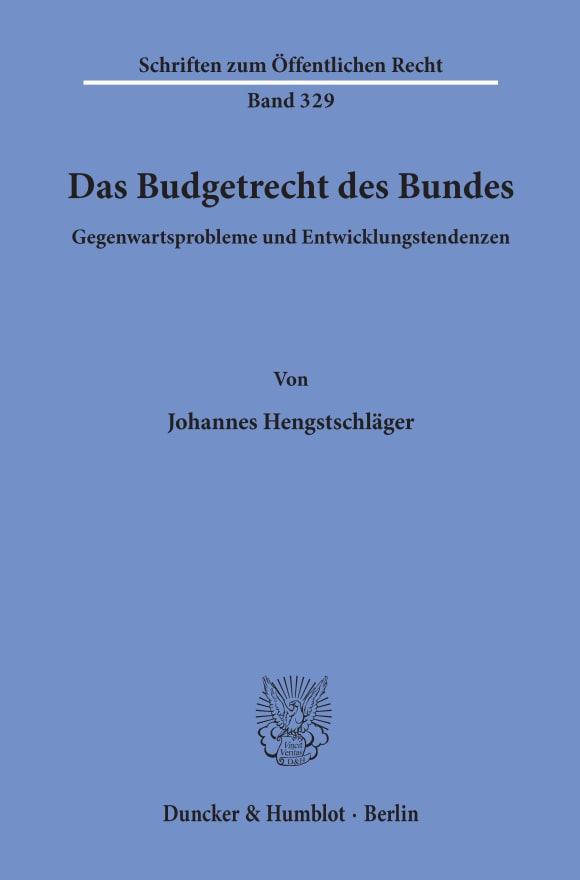 Cover Das Budgetrecht des Bundes