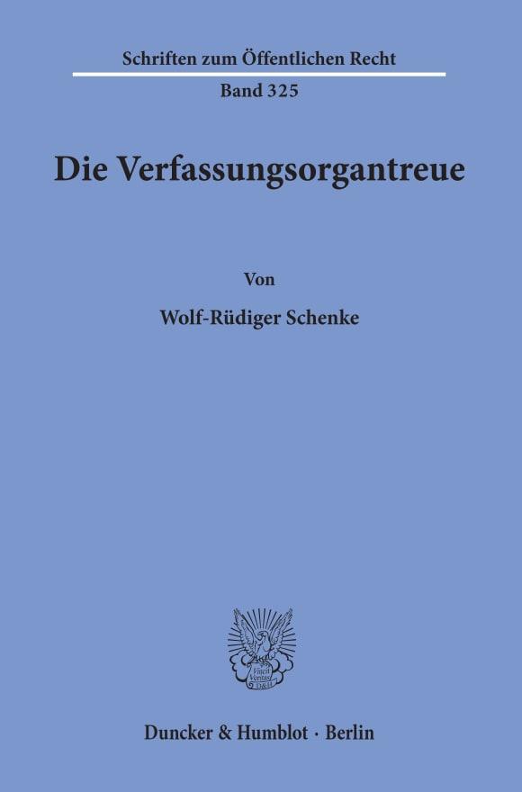 Cover Die Verfassungsorgantreue