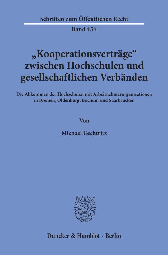 Cover »Kooperationsverträge« zwischen Hochschulen und gesellschaftlichen Verbänden