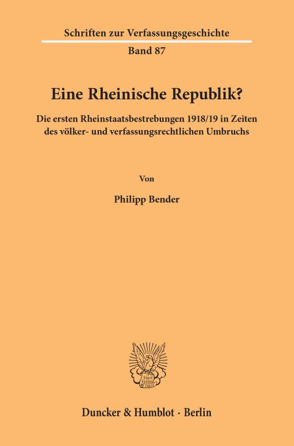 Cover Eine Rheinische Republik?