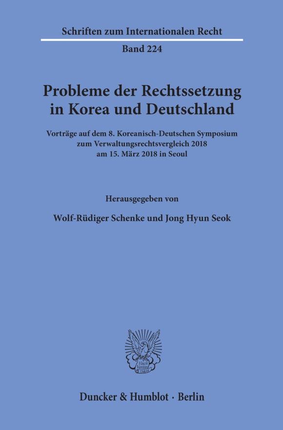 Cover Probleme der Rechtssetzung in Korea und Deutschland