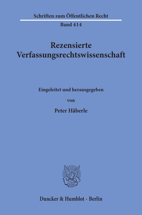 Cover Rezensierte Verfassungsrechtswissenschaft