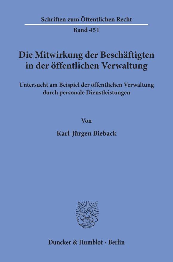 Cover Die Mitwirkung der Beschäftigten in der öffentlichen Verwaltung,
