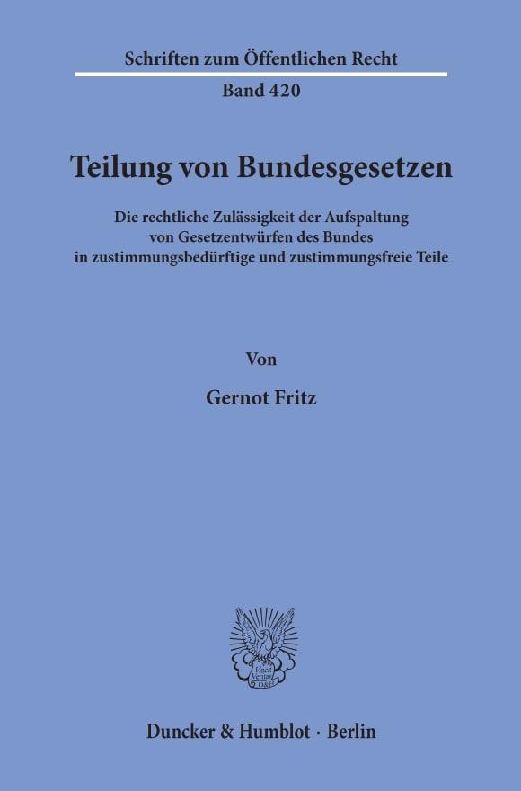 Cover Teilung von Bundesgesetzen