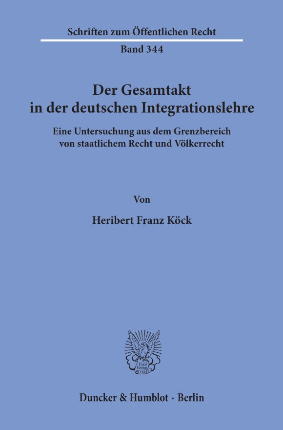 Cover Der Gesamtakt in der deutschen Integrationslehre