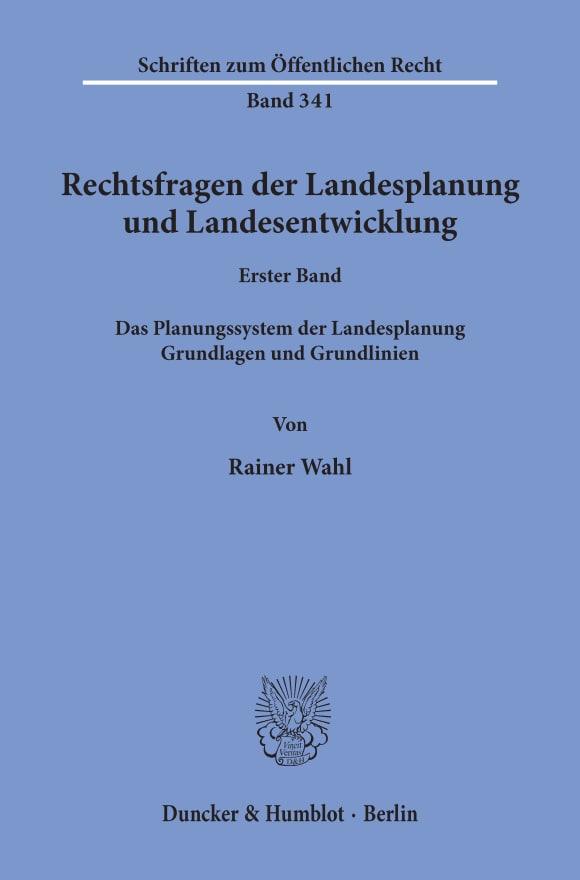 Cover Rechtsfragen der Landesplanung und Landesentwicklung
