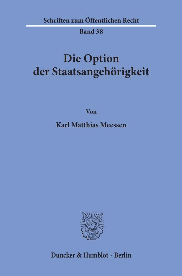 Cover Die Option der Staatsangehörigkeit