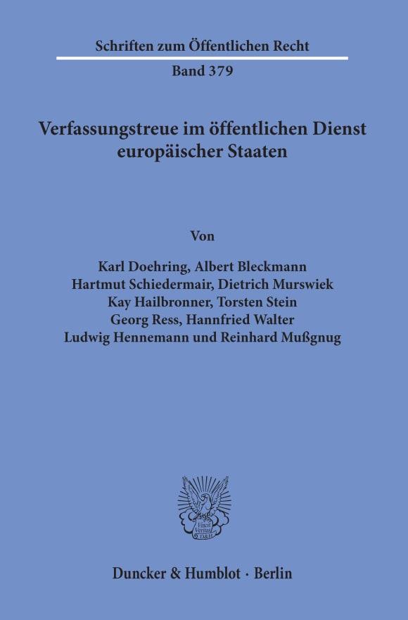 Cover Verfassungstreue im öffentlichen Dienst europäischer Staaten