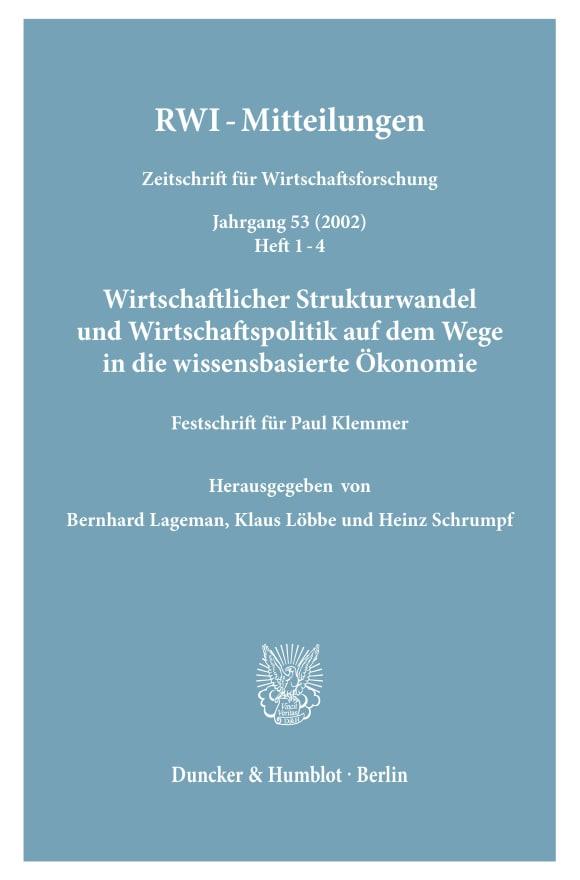 Cover Wirtschaftlicher Strukturwandel und Wirtschaftspolitik auf dem Wege in die wissensbasierte Ökonomie