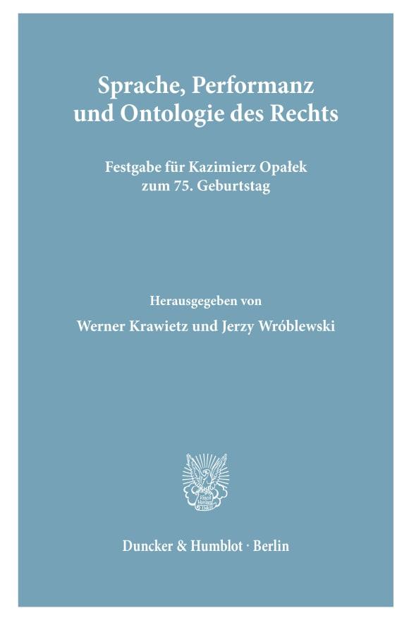 Cover Sprache, Performanz und Ontologie des Rechts