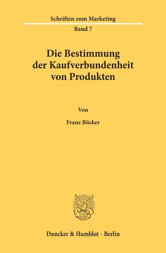 Cover Die Bestimmung der Kaufverbundenheit von Produkten