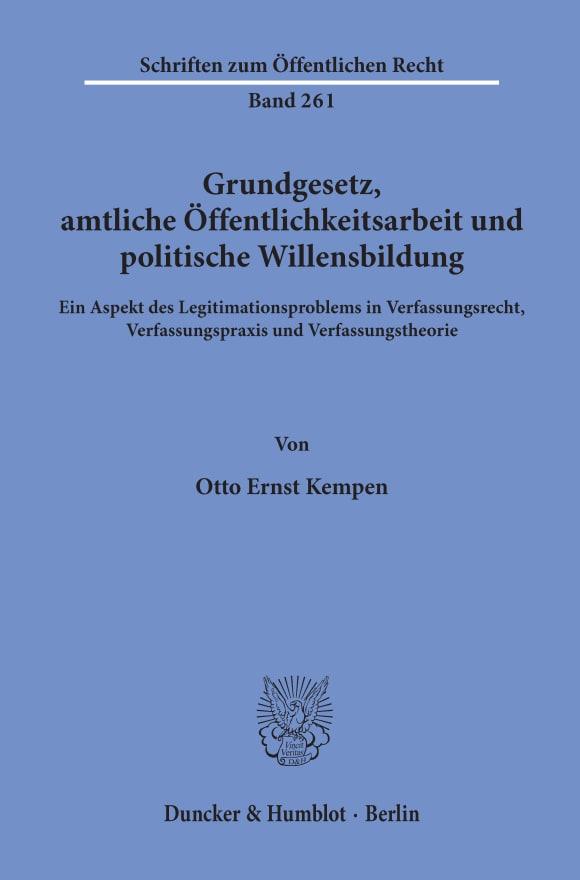 Cover Grundgesetz, amtliche Öffentlichkeitsarbeit und politische Willensbildung