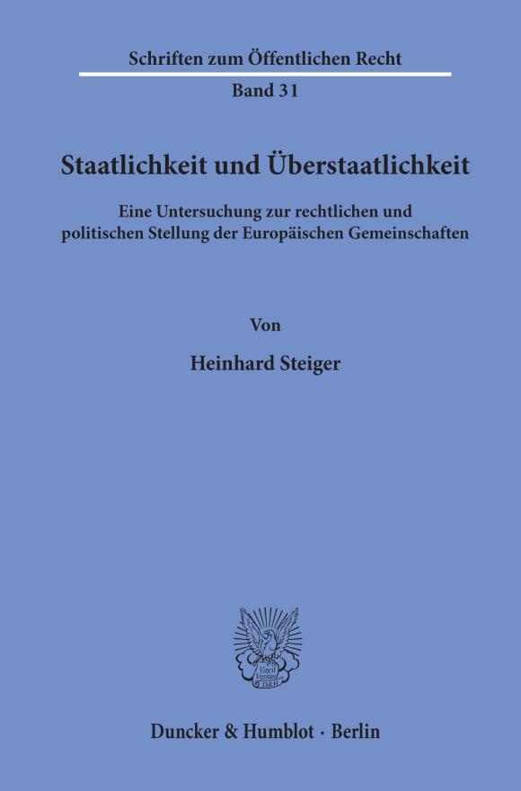 Cover Staatlichkeit und Überstaatlichkeit