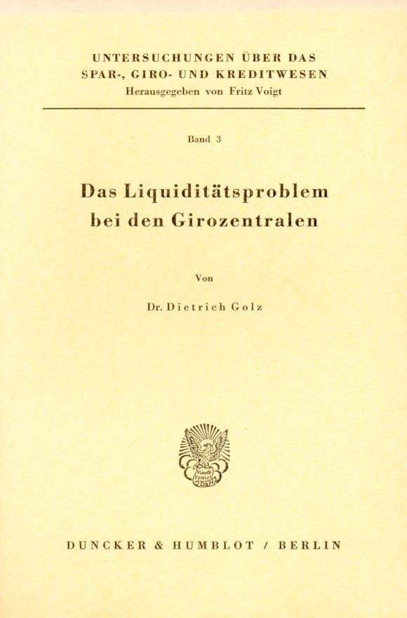 Cover Das Liquiditätsproblem bei den Girozentralen