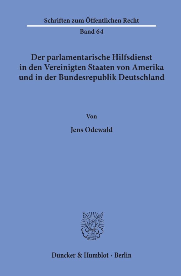 Cover Der parlamentarische Hilfsdienst in den Vereinigten Staaten von Amerika und in der Bundesrepublik Deutschland