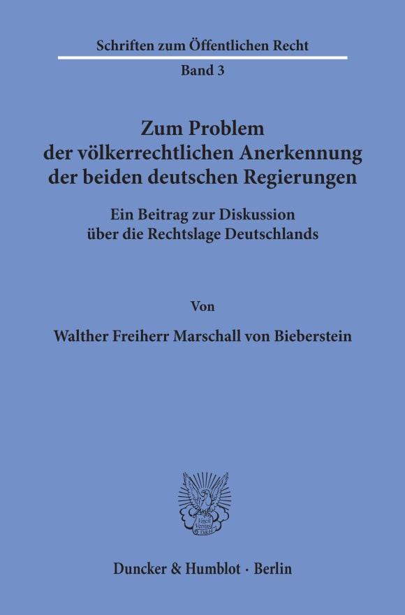 Cover Zum Problem der völkerrechtlichen Anerkennung der beiden deutschen Regierungen