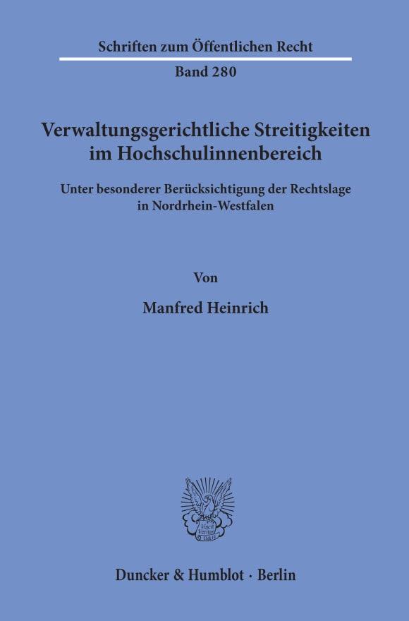 Cover Verwaltungsgerichtliche Streitigkeiten im Hochschulinnenbereich,
