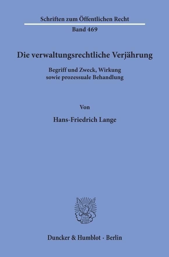 Cover Die verwaltungsrechtliche Verjährung