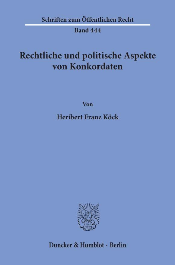 Cover Rechtliche und politische Aspekte von Konkordaten