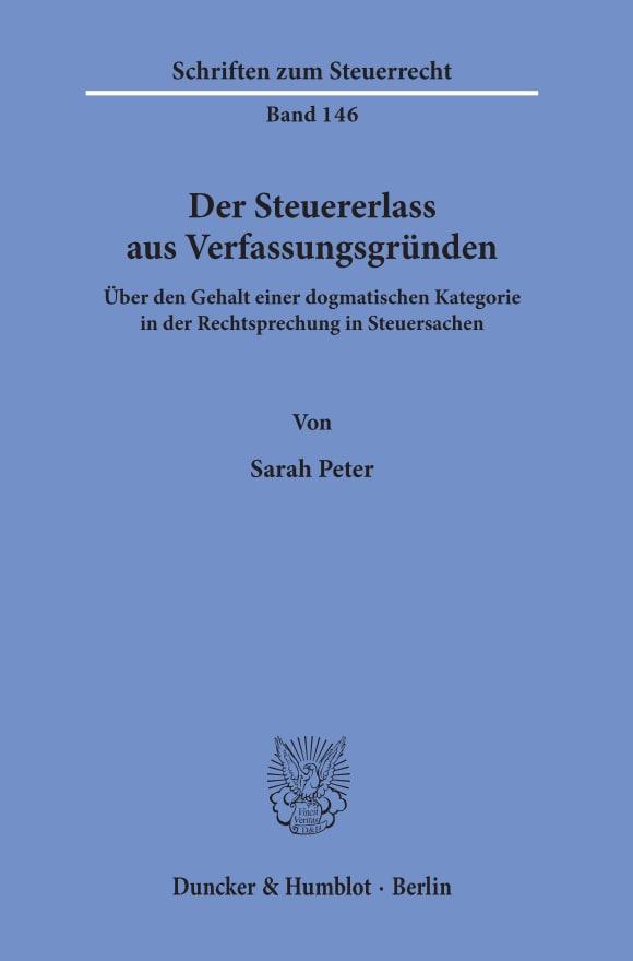 Cover Der Steuererlass aus Verfassungsgründen
